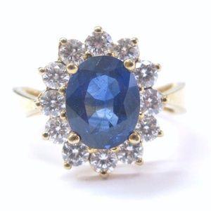 Jewelry - 18Kt Gem Sapphire Diamond Anniversary Jewelry Ring